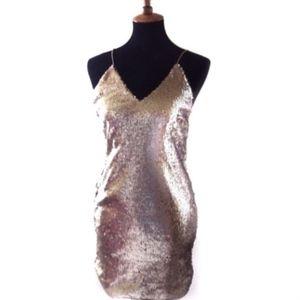 L'atiste Gold Sequin Slip Mini Dress